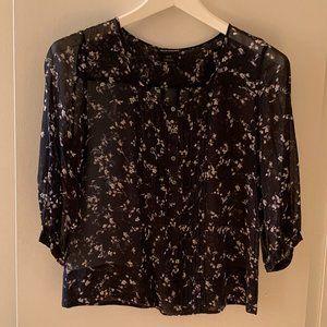 Club Monaco Black Floral Print Sheer Silk Top